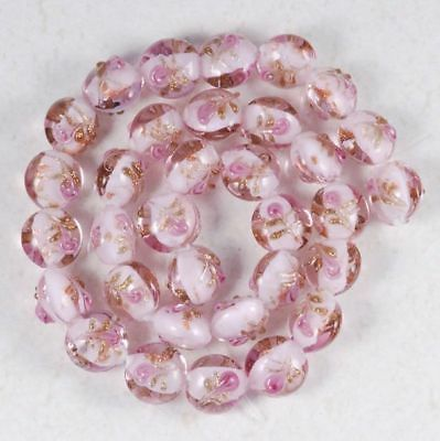 PINK LAMPWORK GLASS COIN BUTTON LOOSE BEADS 12MM STRAND