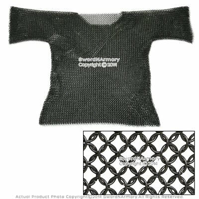 Medieval Renaissance Black Haubergeon Butted Chain Mail Half Sleeves Costume