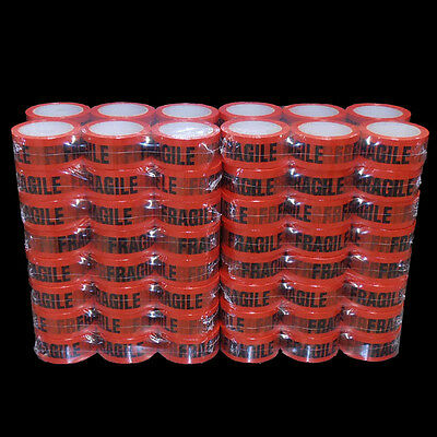 96 Rolls FRAGILE Sticky Packing Tape 75M x48mm Black on Red FREE POST 4 SYD!