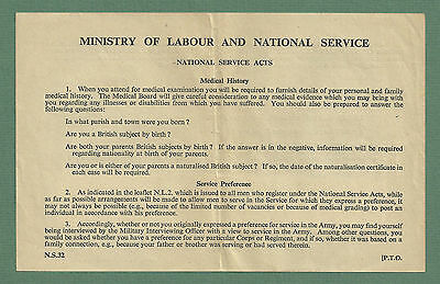 2 X 1950's National Service Forms - Unused Expenses Form & Medical Info Sheet