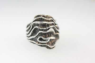 "Unique Ring Stamped 925 Sterling Israel 1"" Wide Folding Ribbons Design  Sz 8.25"