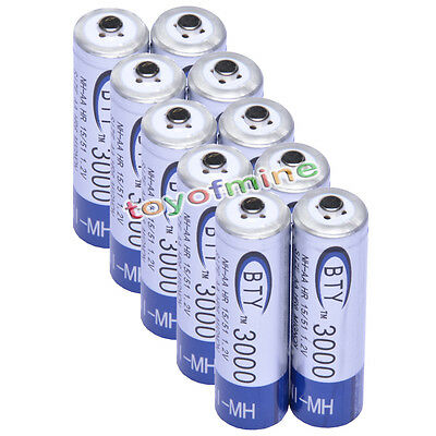 10x AA 3000mAh 1.2 V Ni-MH rechargeable battery BTY cell for MP3 RC Toys Camera