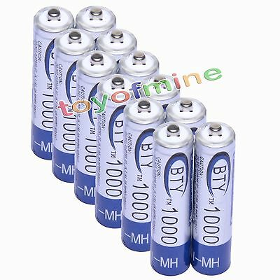 12x AAA 1000mAh 1.2V Ni-MH Rechargeable battery 3A BTY Cell for MP3 RC Toys