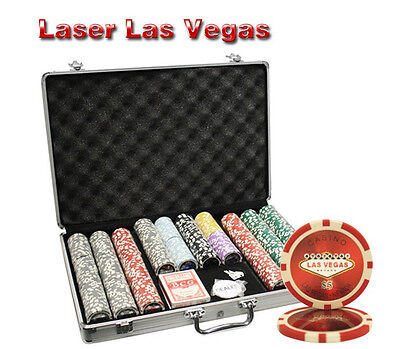 650pcs 14G LAS VEGAS LASER CASINO CLAY POKER CHIPS SET WITH ALUMINUM CASE