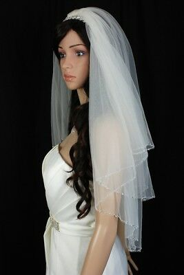 Bridal Veil  Ivory 2 Tiers Fingertip Length Scallop Edge Trimmed With Beads