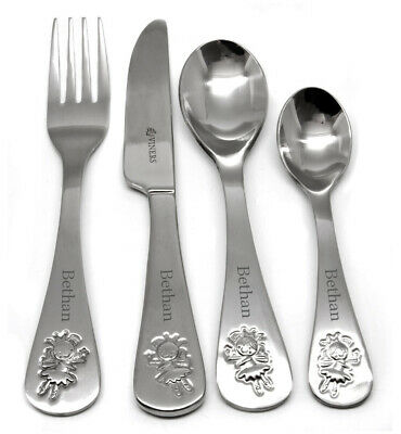 Personalised Stainless Steel Childrens 4 Piece Fairy Design Cutlery Set,Engraved