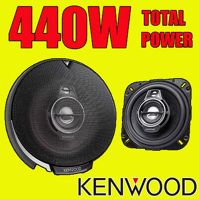 KENWOOD 440W TOTAL 3-WAY 4 INCH 10cm CAR DOOR/SHELF COAXIAL SPEAKERS NEW PAIR