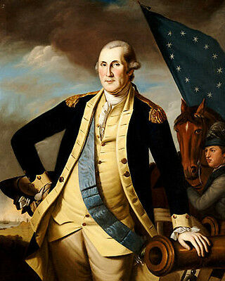 Stunning Oil painting portraits George Washington On the battlefield canvas 36""