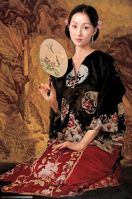 """Perfect Oil painting beautiful Chinese young lady with fan on canvas 24""""x36"""""""