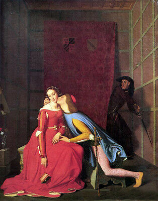 """Huge Oil painting Ingres - Paolo and Francesca young lovers warm kiss canvas 36"""""""