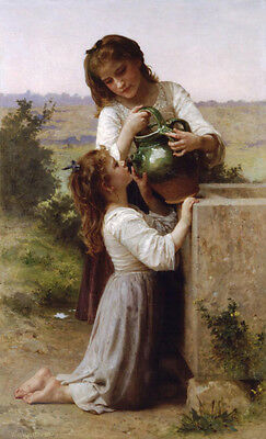 """Handpainted Oil painting Bouguereau beautiful young girls Sister Drink water 36"""""""