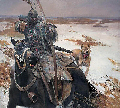 Oil painting horseman Chinese ancient generals on his war horse with dog canvas