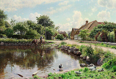 Huge Oil painting Peder Mork Monsted In the country horseman & horses by pond