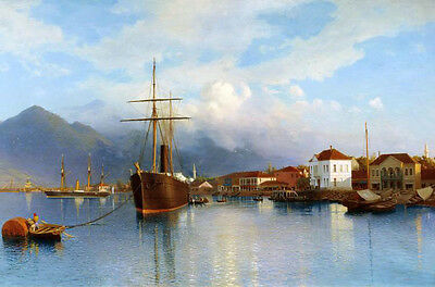 Art Oil painting beautiful landscape with old town ship on the rivers canvas