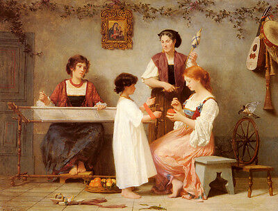 Huge Oil painting Paul Alfred de Curzon - Afternoon Pastimes happy family & girl