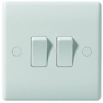 2 Gang 2 Way Light Switch White Plastic Double Beveled
