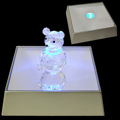 3 Led Light Display Stand Glass Crystal Figurine Mirror Laser Electric New 3D Up