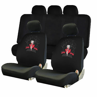4pc Betty Boop Skyline Two Lowback Seat Covers & & UAA Black Bench Universal Fit
