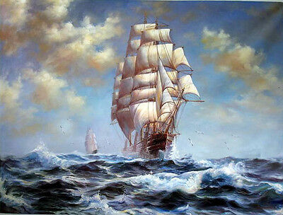 Dream-art Oil painting seascape ship big sail boats on ocean & waves canvas 36""