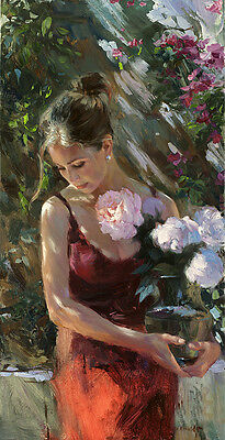 Nice Oil painting beautiful young girl holding a glass vase & white roses flower