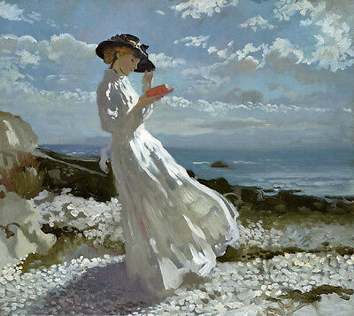 Impressionism Oil painting young lady reading book by sunset beach on canvas
