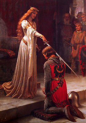 Dream-art Oil painting Edmund Blair Leighton The Accolade princess & sword 36""