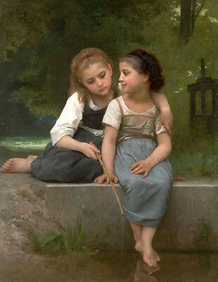 """Oil painting William Bouguereau - Fishing for Frogs young girls in landscape 36"""""""