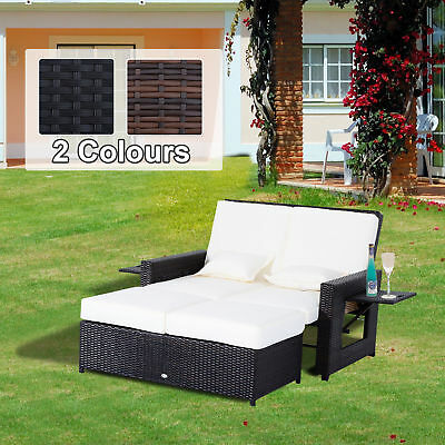 Outdoor Garden Rattan Furniture Set 2 Seater Patio Sun Lounger Daybed Sunbed New