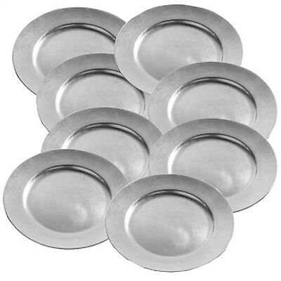 Set Of 8 Silver Lacquer Wedding Decorative Charger Dinner Dining Under Plates