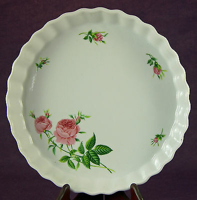 Christineholm Fluted Quiche Pie Tart Baking Dish Pink Rose Collection Box 9.75""
