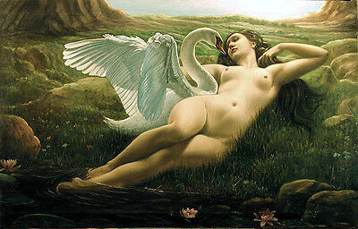 Dream-art Oil painting naked young girls Leda and the Swan by stream landscape