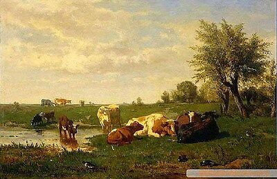 """Huge art Oil painting cows in sunset landscape by the pond on canvas 36"""""""