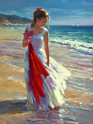 Huge Oil painting nice young girl playing by beach & ocean waves Coastal Breeze