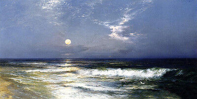 Huge Oil painting Thomas Moran - Moonlit Seascape with moon waves by beach
