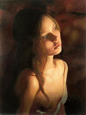 Huge Oil painting young beautiful girl in the Candlelight night no framed canvas