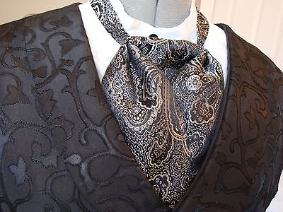 Puff Tie Gentlemans Mans Cravat Old West Black & Silver Paisley Print Cas Sass