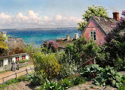 Dream-art Oil painting village in nice spring landscape by the ocean hand paint