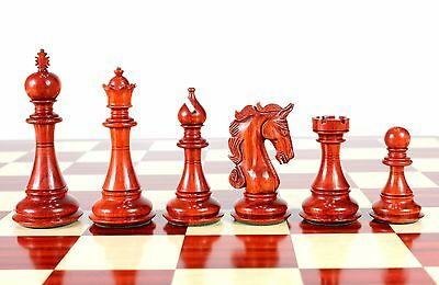 "Bud Rose Wood Luxor Staunton Wooden Chess Set Pieces 4.5"" - Wooden Box"