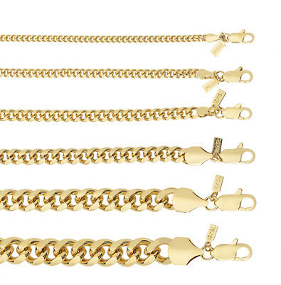 18KT Gold Overlay Cuban/Curb Link Chain Necklace or Bracelet - Lifetime Warranty