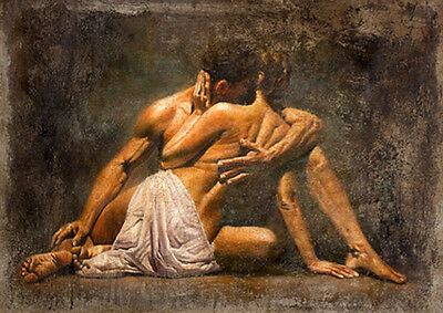 Dream-art Oil painting portraits romantic young lover warm kiss hand painted art