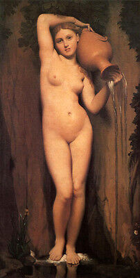 """Beautiful Oil painting Ingres - The Source Young beauty girl & pot canvas 36"""""""