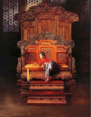 Stunning Oil painting Little boy Chinese Qing Dy Emperor Playing on the Throne