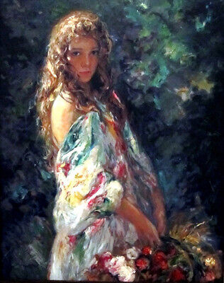 Huge oil painting portrait beautiful young girl holding spring flowers on canvas