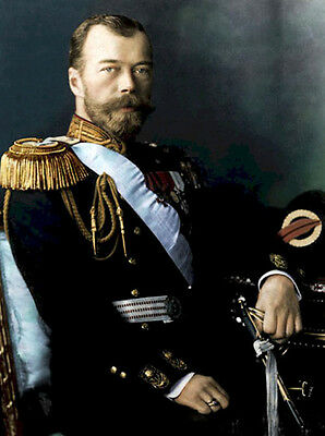 People art Oil painting male portrait tsar Nicholas II seated with sword