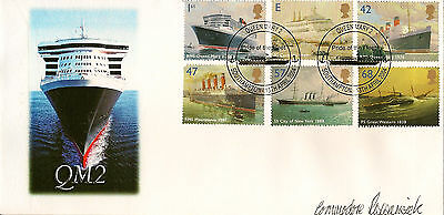 GB :2004 QM2 illustrated FDC-SOUTHAMPTON special cancel-Commodore signed