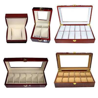 Wooden Watch Gift Box & Glass Screen Classic Watches Wood Display Storage Case