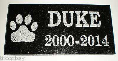 """12"""" x 6"""" Name & Date Pet Memorial GRANITE Grave Marker Stone With Large Paw"""