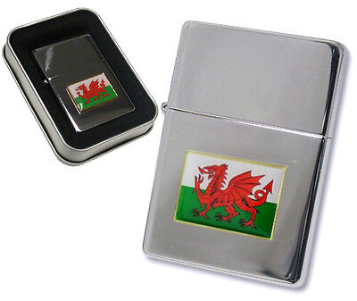 Personalised Silver Welsh Dragon Flag Cigarette Lighter and Gift Box, Engraved