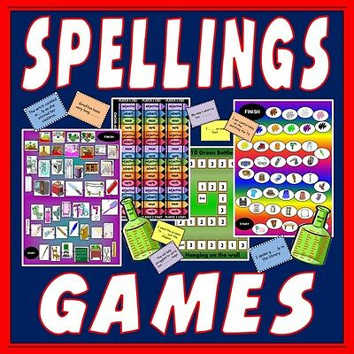 CD 4 Spelling Board Games Literacy English Teaching Resource EYFS Key stage 1-2