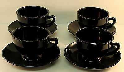 FOUR (4) Viking Glass Black Amethyst Cups & Saucers EXCELLENT